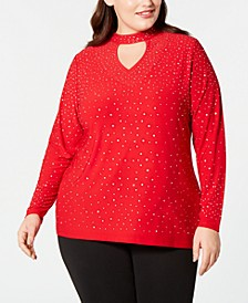 Plus Size Embellished Keyhole Top