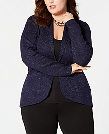 Plus Size Glitter Shawl-Collar Blazer