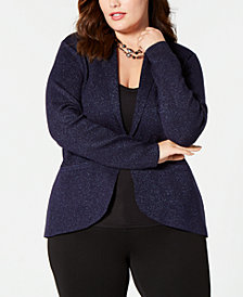 Belldini Plus Size Glitter Shawl-Collar Blazer