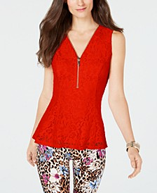 Lace Zip-Detail Peplum Top, Created for Macy's