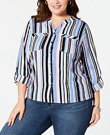 NY Collection Plus Size Printed Button-Front Roll-Tab Shirt