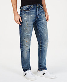 Sean John Men's Athletic, Tapered Paint Splatter Jeans
