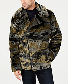 I.N.C. Men's Camo-Print Faux-Fur Coat, Created for Macy's