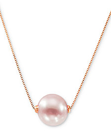"""Honora Pink Cultured Freshwater Pearl (8-1/2mm) 18"""" Pendant Necklace (Also in White Cultured Freshwater Pearl)"""
