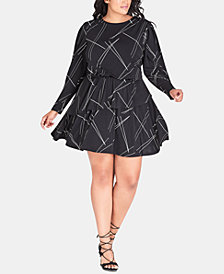 City Chic Trendy Plus Size Printed Peplum Fit & Flare Dress