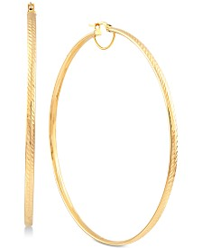 Textured Large Skinny Hoop Earrings in 14k Gold