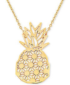 "Pineapple 17"" Pendant Necklace in 10k Gold"