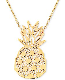 """Pineapple 17"""" Pendant Necklace in 10k Gold"""