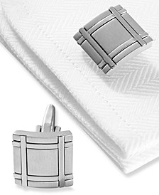 Cufflinks, Brushed Rhodium Square Boxed Set