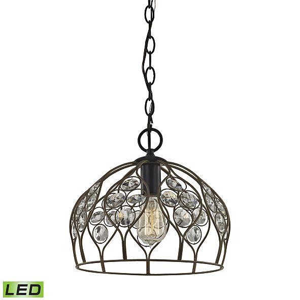 ELK Lighting Crystal Web 1 Light Penant In Bronze Gold And Matte Black With Clear Crystal