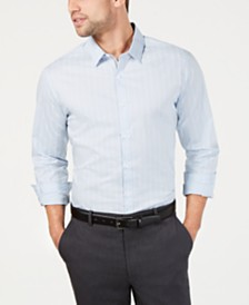 I.N.C. Men's Slim Fit Bloom Text-Stripe Shirt, Created for Macy's