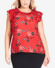 City Chic Trendy Plus Size Etched Floral Top