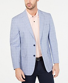 Men's Modern-Fit TH Flex Blue/White Plaid Sport Coat