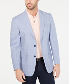 Tommy Hilfiger Men's Modern-Fit TH Flex Blue/White Plaid Sport Coat
