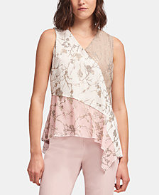 DKNY Mixed-Print Asymmetrical-Hem Top, Created for Macy's