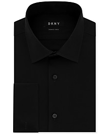 DKNY Men's Slim-Fit Performance Stretch Wrinkle-Resistant Black French Cuff Dress Shirt