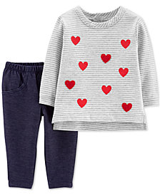 Carter's Baby Girls 2-Pc. Heart Cotton Shirt & Pants Set