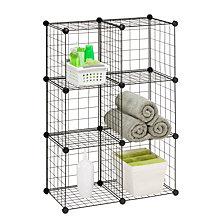 Honey Can Do 6 Pack Modular Mesh Storage Cube, Black