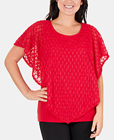 NY Collection Embellished Layered Poncho Top