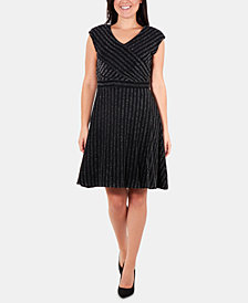 NY Collection Glitter-Stripe Fit & Flare Dress