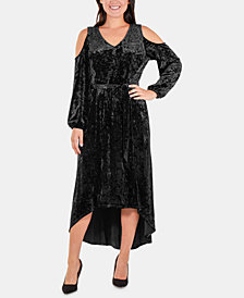 NY Collection Velvet Cold-Shoulder Dress