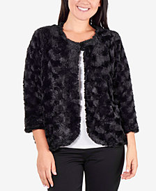 NY Collection Cropped 3/4-Sleeve Faux Fur Jacket