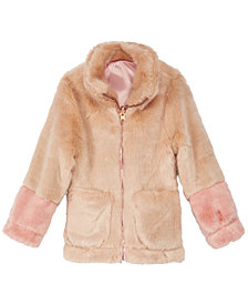 Jessica Simpson Little Girls Colorblocked Reversible Faux-Fur Jacket