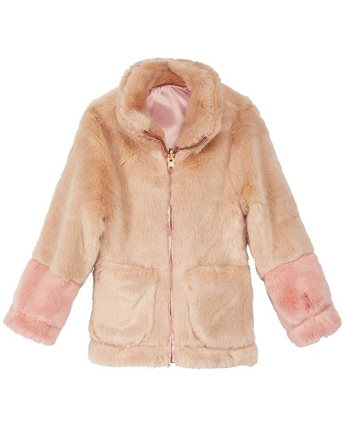8ec69605e Jessica Simpson Toddler Girls Colorblocked Reversible Faux-Fur ...