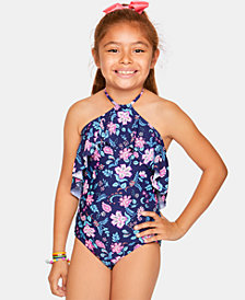 Summer Crush Big Girls 1-Pc. Floral-Print Flounce Swimsuit