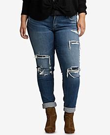 Plus Size Ripped Boyfriend Jeans