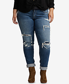 Silver Jeans Co. Plus Size Ripped Boyfriend Jeans