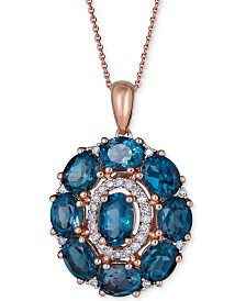 "London Blue Topaz (4-5/8 ct. t.w.) & Diamond (1/8 ct. t.w.) 18"" Pendant Necklace in 14k Rose Gold"