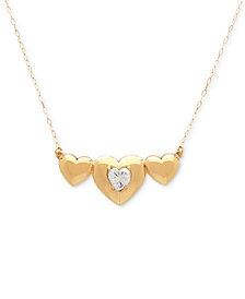 "Cubic Zirconia Triple Heart 17"" Pendant Necklace in 10k Gold"