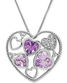 "Multi-Gemstone Heart 18"" Pendant Necklace (3-5/8 ct. t.w.) in Sterling Silver"