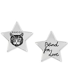 "Gucci ""Blind for Love"" Cat Star Stud Earrings in Sterling Silver"