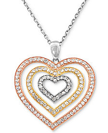 "Cubic Zircoina Tricolor Multi-Heart 18"" Pendant Necklace in Sterling Silver & Gold- and Rose-Gold Plate"