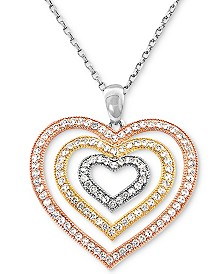 """Cubic Zircoina Tricolor Multi-Heart 18"""" Pendant Necklace in Sterling Silver & Gold- and Rose-Gold Plate"""