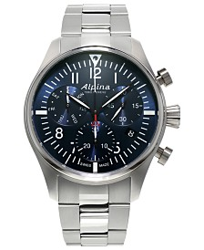 Alpina Men's Swiss Automatic Chronograph Startimer Pilot Stainless Steel Bracelet Watch 42mm