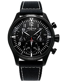 Men's Swiss Automatic Chronograph Startimer Pilot Black Nylon Strap Watch 42mm