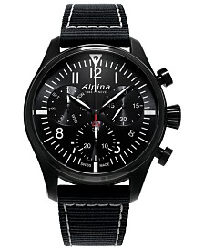 Alpina Men's Swiss Automatic Chronograph Startimer Pilot Black Nylon Strap Watch 42mm