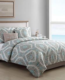 VCNY Sea Damask Coastal 5-Pc. Reversible Bedding Comforter Sets