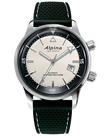 Alpina Men's Swiss Automatic Seastrong Diver Heritage Black Rubber Strap Watch 42mm