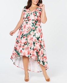 Calvin Klein Plus Size Printed High-Low Gown
