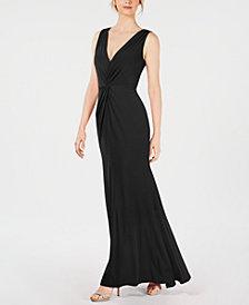 Calvin Klein Ruched Twist-Front Gown