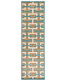 "CLOSEOUT! Surya  Portera PRT-1061 Aqua 2'6"" x 7'10"" Runner Area Rug, Indoor/Outdoor"