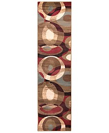 "Riley RLY-5007 Dark Red 3' x 7'2"" Runner Area Rug"