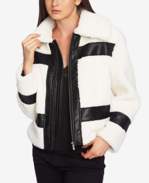 1.STATE 1. State Faux-Shearling Bomber Jacket in Soft Ecru