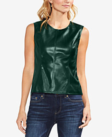 Vince Camuto Faux-Leather Contrast Top