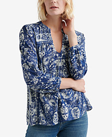 Lucky Brand Floral-Print Crochet-Trim Peasant Top, Created for Macy's