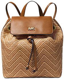 MICHAEL Michael Kors Junie Chevron Leather Flap Backpack